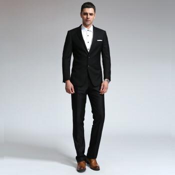 安其罗扬(ANGELOYANG)男士西服套装 男款韩版商务休闲职业装修身西装套装 黑色 L/175A