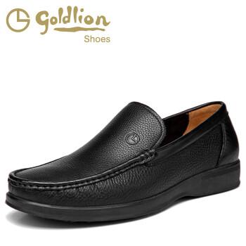 专柜正品 金利来男鞋新款软皮套脚舒适商务正装皮鞋133420381AHB 黑色 41