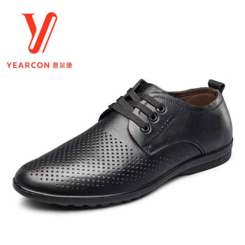 意尔康凉鞋2017新款夏季新款透气清爽孔鞋牛皮系带休闲凉鞋7342ZL97020W 黑色 40