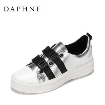 Daphne/达芙妮17春夏新舒适厚底女鞋 时尚拼色圆头插扣深口单鞋 银色 36