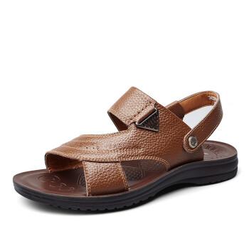 意尔康男鞋男士沙滩鞋7342ZS97805W 卡其41