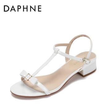 Daphne/达芙妮 凉鞋女夏季2017新款舒适低跟露趾鞋子女休闲蝴蝶结纯色丁字带粗跟女鞋 白色 37