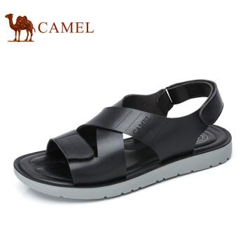 骆驼(CAMEL)2017夏季新款男鞋 轻盈透气露趾男士沙滩凉鞋 黑色 41