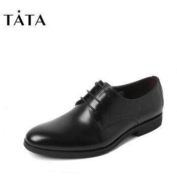 Tata/他她2017年秋季牛皮商务绅士方跟男皮鞋2C833CM7纯色系带单鞋 黑色 40