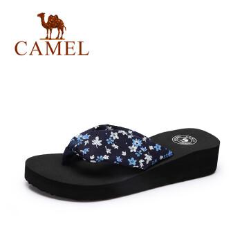 骆驼 (CAMEL)女鞋 夏季新品甜美人字拖鞋女 沙滩居家舒适坡跟拖鞋 藏青 36