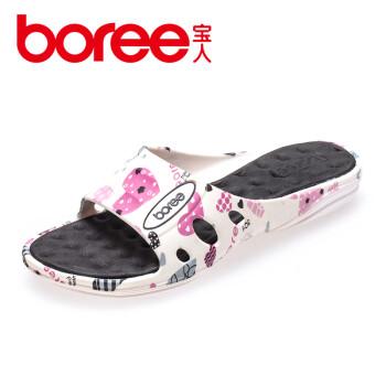 Boree宝人新款女拖鞋居家室内家用防滑浴室拖鞋软底按摩一字拖 95234570黑色 37