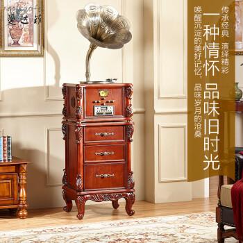 曼达菲-1802c 实木双低音炮 留声机仿古复古黑胶直播唱片机大喇叭 老式电唱机 曼达菲-棕色