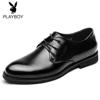 花花公子皮鞋男鞋 夏季男士商务休闲正装鞋真皮尖头时尚英伦系带婚鞋 黑色 40