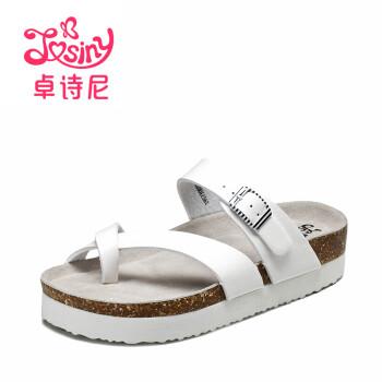 卓诗尼女鞋2017夏季新款时尚舒适软木拖鞋休闲运动平跟露趾凉鞋女195730072 白色 36