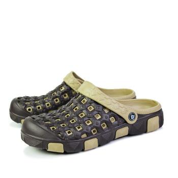 新款青年款洞洞鞋透�忡U空�鲂�包�^�鐾夏惺可�┬�大�^鞋 WJZ918棕色 ��蔬\�有��a42