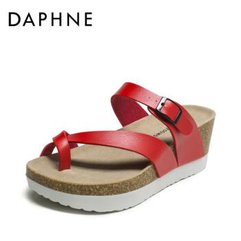 Daphne/达芙妮夏新款夹趾女凉鞋经典坡跟厚底拖鞋1516303001 红色 38