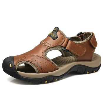 漫步者凉鞋男包头沙滩鞋2017夏季新款牛皮户外透气休闲鞋 浅棕色 39