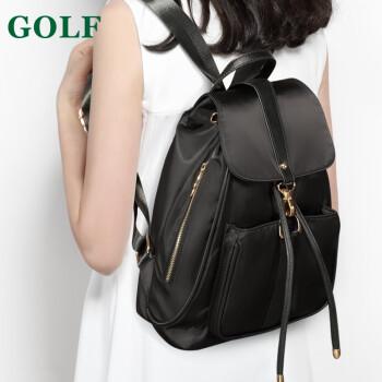 高尔夫GOLF双肩包女时尚防水锦纶女士新品背包女新款多功能耐磨女包 黑色