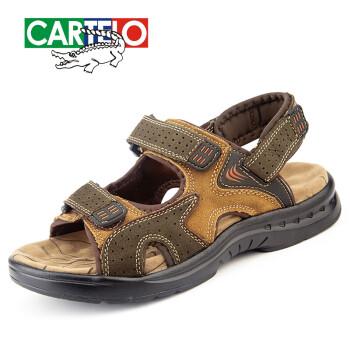 卡帝乐鳄鱼(CARTELO)凉鞋 男夏季新款沙滩鞋男士凉鞋 户外休闲男士凉拖鞋 墨绿色 42