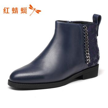 红蜻蜓女鞋 新品时尚侧拉链设计尖头舒适女靴女踝靴 WZC60241/42/43 蓝色 38