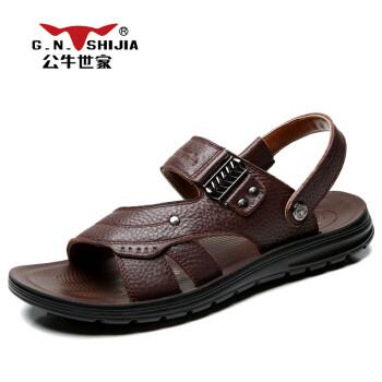 G.N.ShiJia 公牛世家夏季凉鞋男沙滩鞋真皮户外透气凉拖鞋露趾双用凉鞋潮888443 棕色 43