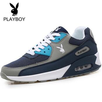 花花公子(PLAYBOY)男士新款休闲鞋时尚气垫运动鞋跑步鞋慢跑鞋男 灰兰 42