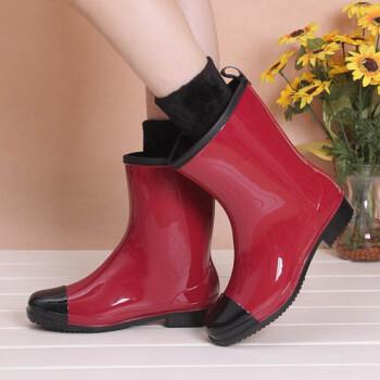 新款时尚雨鞋女士中高筒雨靴防滑耐磨水鞋胶鞋可加绒袜保暖 260红色有绒袜 加绒标准码,按平时码数拍 38