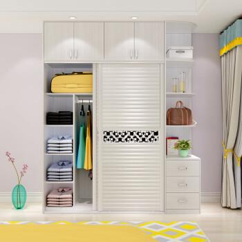 芬格美家簡約現代衣柜2門4門整體經濟型推拉移門板式臥室柜子木質圖片