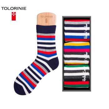 TOLORINIE 透气吸湿排汗袜子男 精梳棉彩色条纹男袜 四季运动中筒袜