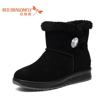 红蜻蜓雪地靴女靴子短靴中筒靴长绒毛纽扣舒适中筒保暖平底棉鞋女 黑色 35