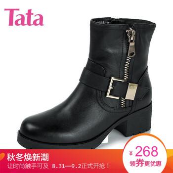 Tata/他她冬季专柜同款酒红色小牛皮女靴2XZ47DD5 黑色 36