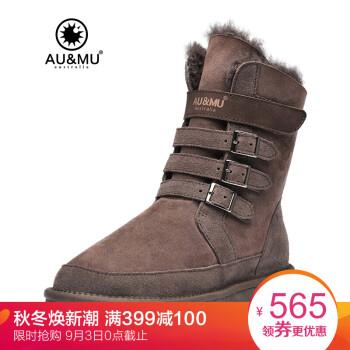 AUMU雪地靴女 澳洲冬季羊皮毛一体女士保暖中筒雪地靴 男女情侣青年款魔术贴鞋子N310 巧克力色 U7(38码)