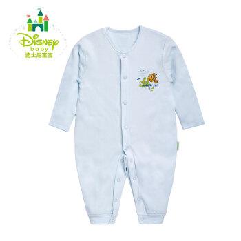 迪士尼(Disney) 婴儿连体衣纯棉舒适柔软新生儿内衣前开扣哈衣爬服153L660 淡蓝 73cm
