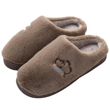 南极人棉拖鞋 男保暖拖鞋 暖暖毛半包跟棉拖鞋咖啡色290(适合42-43码)19016