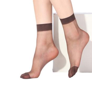 浪莎短丝袜子 对对袜水晶丝短袜薄款女士短丝袜20双 咖啡色20双 均码