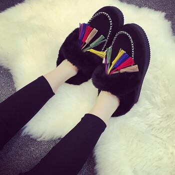 歌山品悦 短靴2017冬季时尚休闲加厚加绒女鞋保暖雪地靴 黑色 40