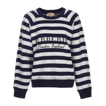 BURBERRY巴宝莉女士圆领条纹针织衫毛衣卫衣4054631 蓝白色 M
