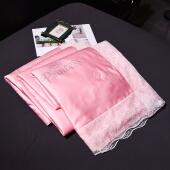 2019新款水洗蕾丝天丝夏被四件套三件套空调被冰丝夏凉被1.5米单人1.8米双人 典雅-粉色 150x200cm