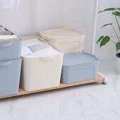 【3件7折】天马大号收纳箱塑料环保家用中小号零食玩具整理盒衣柜衣物桌面装书储物箱 四件套:2小+1中+1大 米色