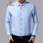 美国苹果 丝光棉长袖衬衫男士中青年棉衬衣