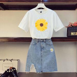 夏季小雏菊刺绣T恤高腰牛仔半身裙套装