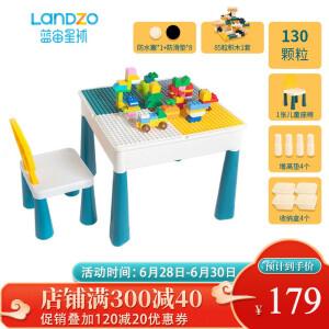【爆款返场】蓝宙 儿童积木学习桌(单桌单椅+4盒+4垫+85颗轨道+130颗粒)