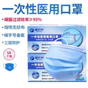 【随时涨价 速度抢】50只【一次性医用口罩】蓝色三层