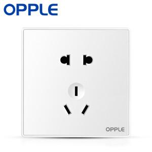 欧普照明(OPPLE) 开关插座五孔白色大面板大翘板 86型10A家用墙壁 五孔2.9元
