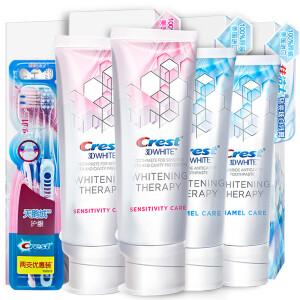 佳洁士(Crest)美国进口小肉桂愈感美白牙膏116g*4支+天鹅绒牙刷2支优惠套装