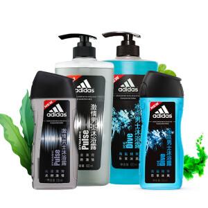 阿迪达斯 Adidas 男士沐浴套装(激情600ml+冰点600ml+激情250ml+冰点250ml)