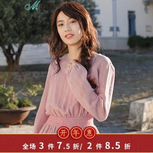 茵曼2018春装新款纯色圆领收腰显瘦优雅长袖衬衫女