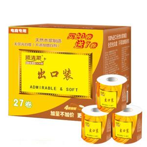 【京东超市】顺清柔卫生纸 出口装有芯卷纸 4层180G*27卷(整箱销售)