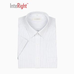 16点!INTERIGHT 机洗 免熨烫 商务男款 短袖衬衫 条纹40码