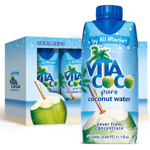 限地区!Vita Coco 唯他可可 天然椰子水饮料 330ml*4瓶     折17.4元/件