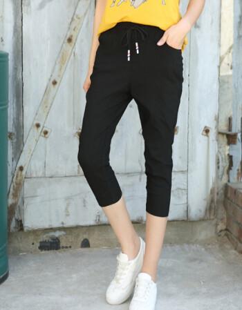 夏款七分裤女宽松显瘦大码休闲裤薄小脚哈伦裤 黑色 4XL