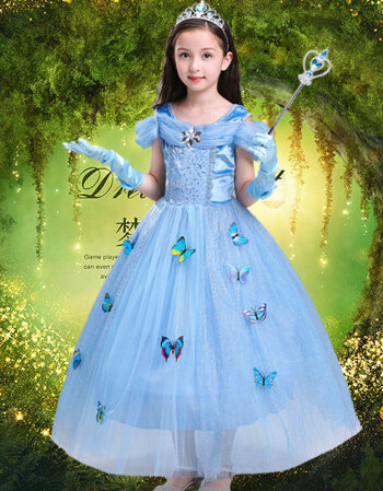 万圣节装女童白雪公主裙苏菲亚睡美人冰雪奇缘公主裙表演服 灰姑娘送