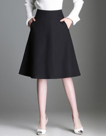 叙道 半身裙A字裙女士秋冬裙季天款中长款高腰大码一步百褶裙子新品款 9886 黑色 L/11码-2尺1
