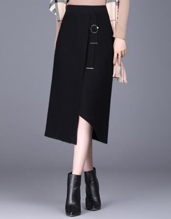 欧偲麦 针织半身裙 新品2019新款大码冬款秋装女士裙子半身时尚下身中长款 8005 黑色 均码