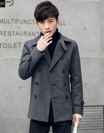 男裝2017冬季潮男士羊毛風衣呢子夾克韓版修身短款毛呢大衣男休閑外套圖片